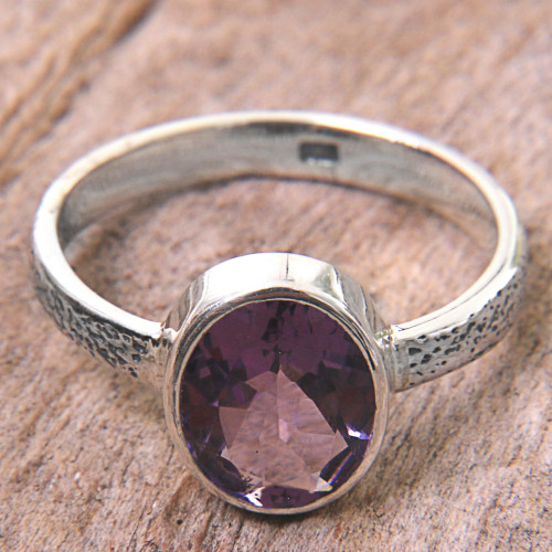 Hand Made Amethyst and Silver Solitaire Ring from Indonesia 'Simply in Purple'