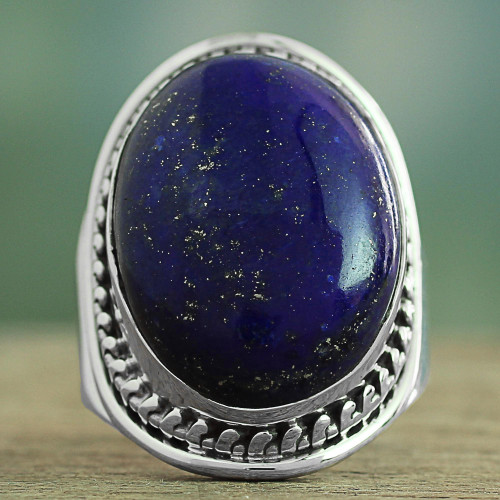 Lapis Lazuli Sterling Silver Ring Handmade in India 'Captivating Blue'