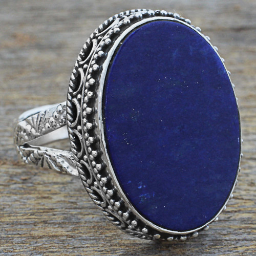 Hand Made Blue Oval Lapis Lazuli Cocktail Ring India 'Pool of Memories'