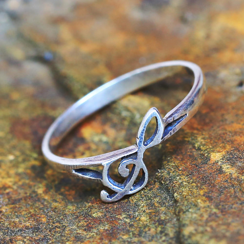 Sterling Silver Band Ring Musical from Thailand 'Timeless Melody'