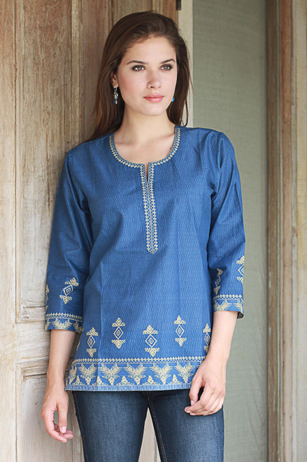 Steel Blue Cotton Tunic with Traditional Wheat Motif 'Blue Geometric Brilliance'