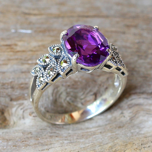 Amethyst and Marcasite Cocktail Ring from Thailand 'Purple Queen'