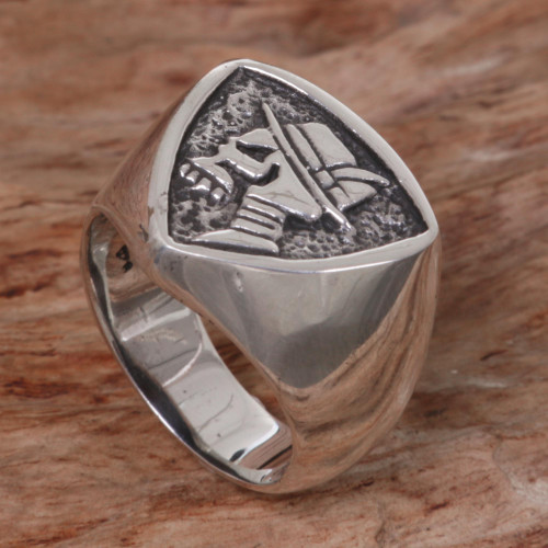 Hand Made Sterling Silver Skull Signet Ring from Indonesia 'Dapper Skull'