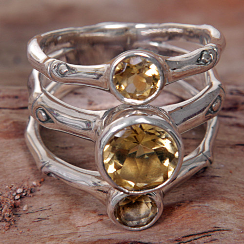Hand Made Citrine Sterling Silver Multistone Ring Indonesia 'Bamboo Dew'
