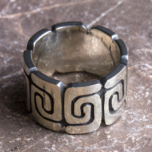 Sterling Silver Band Ring with Spiral Motifs Mexico 'Zapotec Spirals'