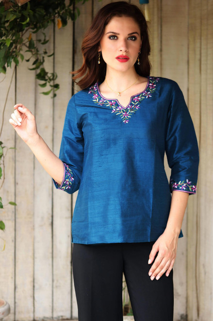 Hand Embroidered Handwoven Blue Silk Tunic from India 'Silk Allure'