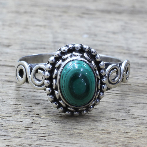 Artisan Designed Sterling Silver and Malachite Cocktail Ring 'Hypnotic Forest'