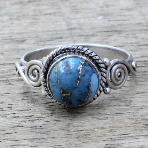 Sterling Silver and Blue Composite Turquoise Cocktail Ring 'Blue Attunement'