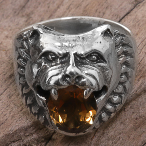 Sterling Silver Citrine Cocktail Ring Wolf Face Indonesia 'Fierce Wolf'