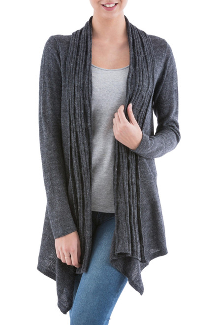 Long Sleeved Grey Cardigan Sweater from Peru 'Grey Waterfall Dream'