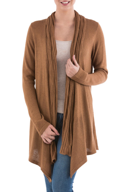 Long Sleeved Brown Cardigan Sweater from Peru 'Copper Waterfall Dream'