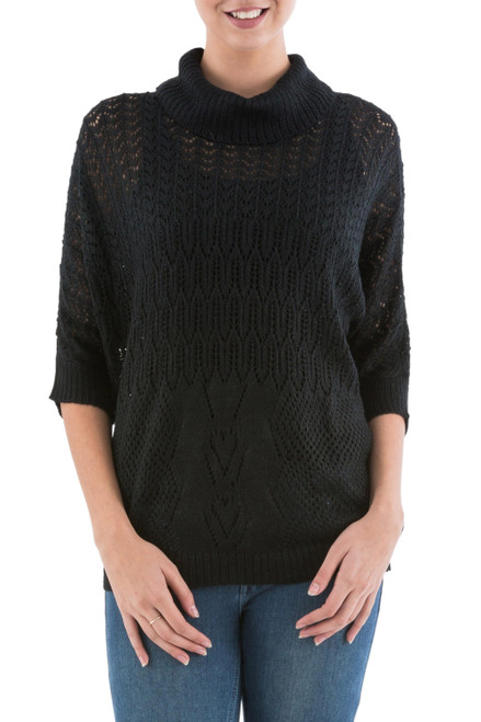 Black Pullover Sweater with Three Quarter Length Sleeves 'Evening Flight in Black'