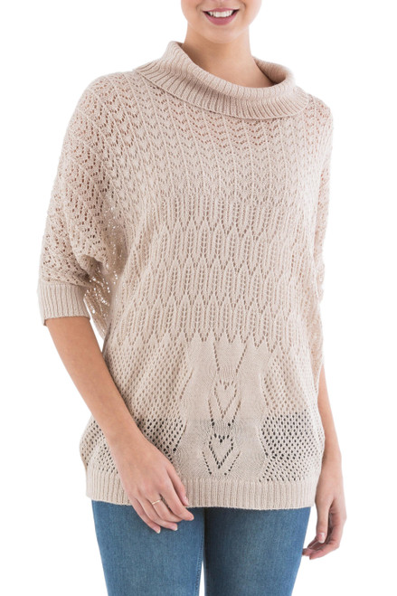 Beige Pullover Sweater with Three Quarter Length Sleeves 'Evening Flight in Beige'