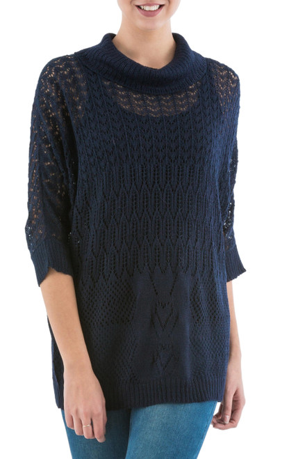 Navy Pullover Sweater with Three Quarter Length Sleeves 'Evening Flight in Navy'