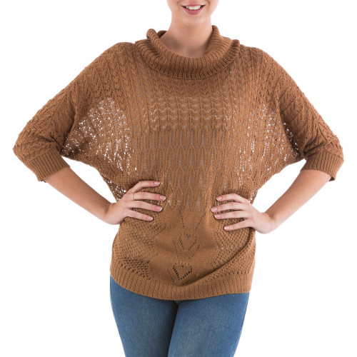 Brown Pullover Sweater with Three Quarter Length Sleeves 'Evening Flight in Copper'