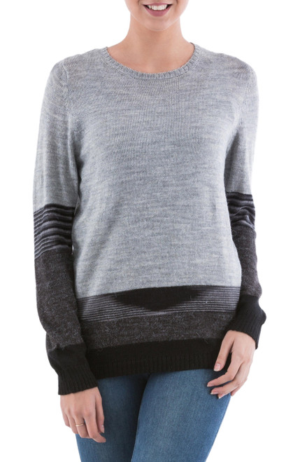 Grey and Black Striped Pullover Sweater from Peru 'Imagine in Grey'