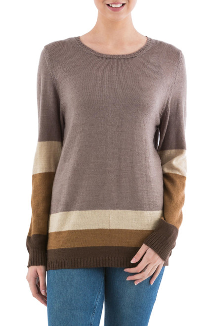 Brown Striped Pullover Sweater from Peru 'Imagine in Brown'