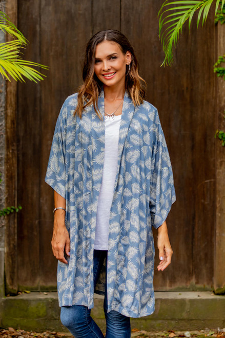 100 Rayon Ivory and Cadet Blue Robe from Bali 'Windy Beach in Cadet Blue'