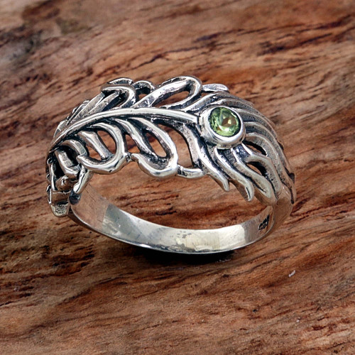 Peridot Sterling Silver Feather Band Ring from Indonesia 'Feather Light'