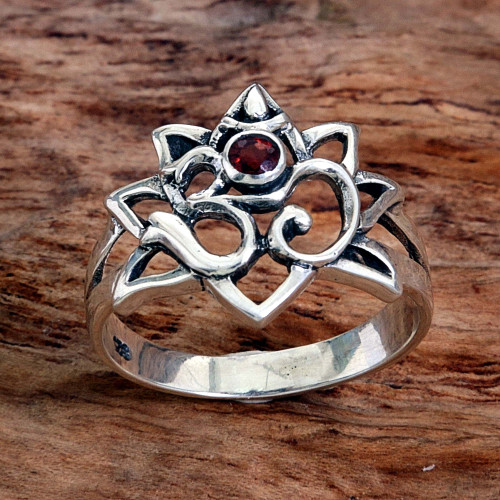 Garnet Sterling Silver Om Cocktail Ring from Indonesia 'Jeweled Om'
