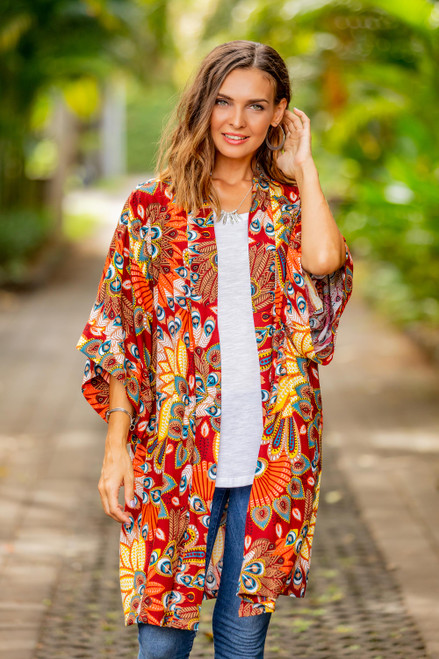 Multicolored Floral Rayon Robe in Brick from Indonesia 'Brush Fire'