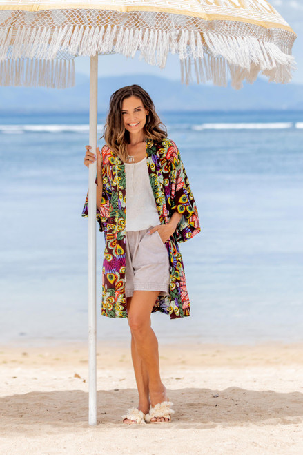 Multicolored Floral Rayon Robe in Rosewood from Indonesia 'Jungle Groove'