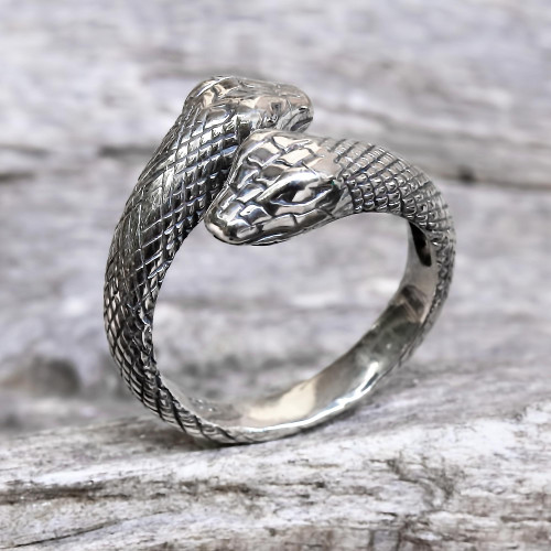 Hand Made Sterling Silver Snakes Wrap Ring Indonesia 'Sea Serpent'