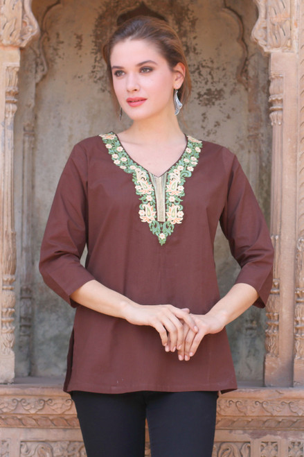 Chestnut Brown Cotton Tunic with Classic Indian Embroidery 'Chestnut Opulence'