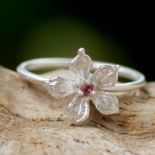 Thai Tourmaline and Sterling Silver Floral Cocktail Ring 'Pink Winter Bloom'