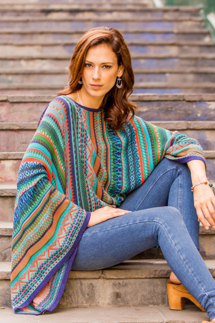 Bohemian Knit Sweater from Peru in Turquoise Stripes 'Lima Dance'
