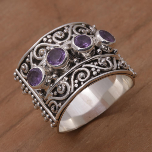 Amethyst and Sterling Silver Multi-Stone Ring from Bali 'Lucky Four'