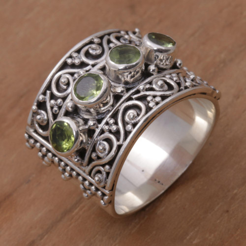 Peridot and 925 Sterling Silver Multi-Stone Ring from Bali 'Lucky Four'