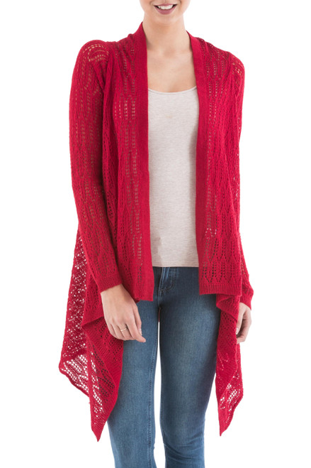 Red Sidetail Cardigan Sweater from Peru 'Red Mirage'