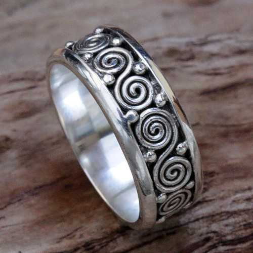 Sterling Silver Unisex Spiral Band Ring from Indonesia 'Miracle Spirals'