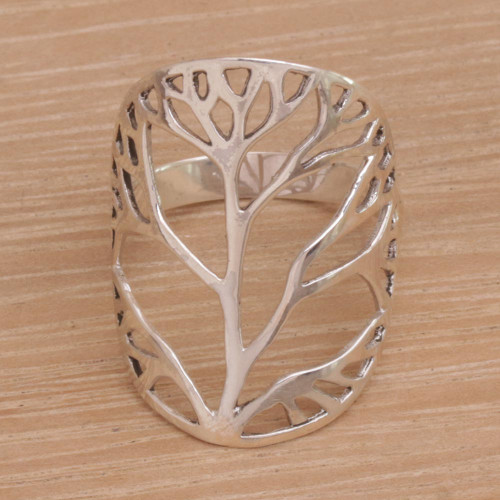 Sterling Silver Tree Openwork Cocktail Ring from Indonesia 'Tree of Desire'