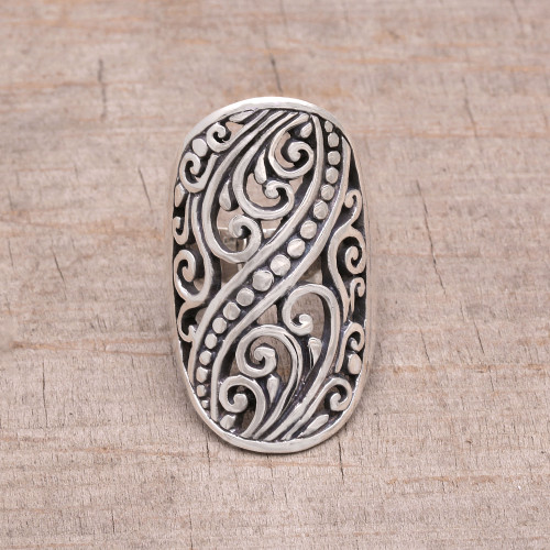 Hand Crafted Sterling Silver Openwork Ring from Indonesia 'Balinese Shield'