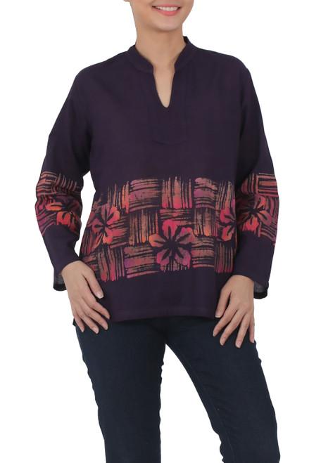Handmade Thai Long Sleeved Cotton Blouse with Batik Pattern 'Island Evenings'