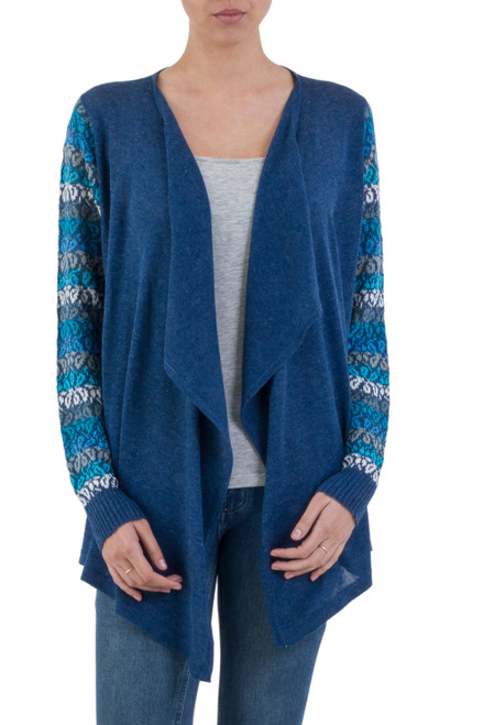 Peruvian Open Front Solid Blue Cardigan with Floral Sleeves 'Garden in Blue'