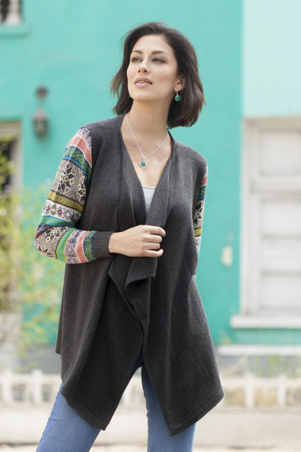 Solid Grey Open Kimono Cardigan with Multicolor Sleeves 'Grey Southern Star'