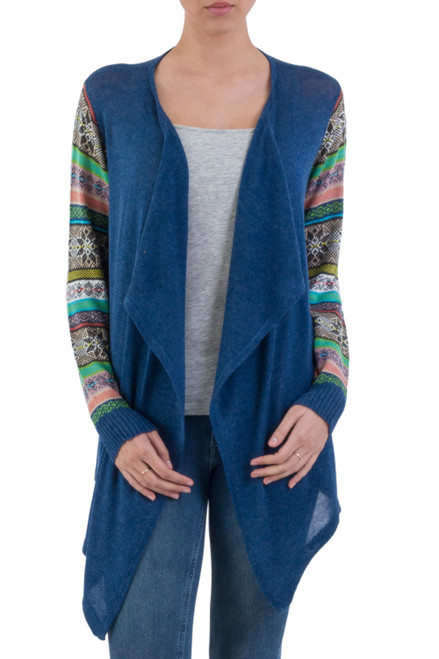 Blue Open Cardigan with Multicolored Patterned Sleeves 'Blue Southern Star'
