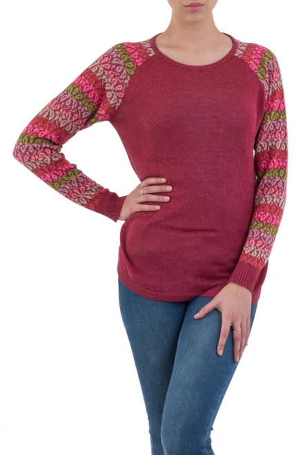 Tunic Sweater in Wine with Multi Color Floral Sleeves 'Garden Vine in Wine'
