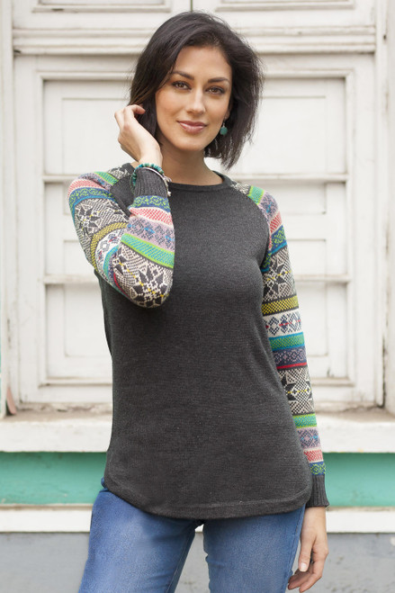Dark Grey Long Sweater with Star Pattern Multicolor Sleeves 'Andean Star in Charcoal'