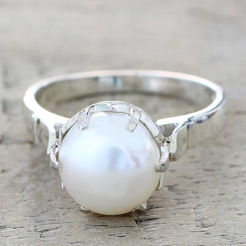 Artisan Crafted Cultured Pearl Solitaire Ring from India 'Glowing Globe'