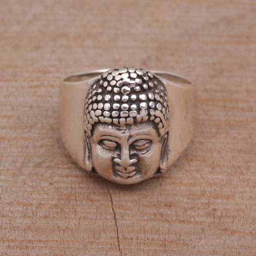Sterling Silver Men's Buddha Band Ring from Bali 'Buddha's Influence'