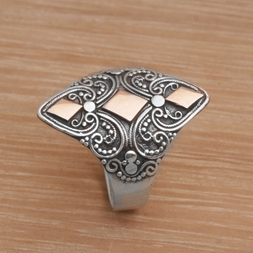 Gold Accented Sterling Silver Cocktail Ring from Indonesia 'Dream of Gold'