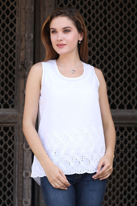 White Cotton Sleeveless Top from India 'Summer Charm'