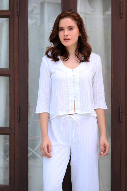 White Cotton Cropped Blouse from India 'White Queen'