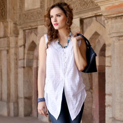 Casual White Cotton Queen Anne Sleeveless Blouse 'Gentle Breeze'