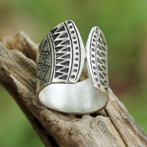 925 Silver Wrap Ring with Geometric Motifs from Thailand 'Groovy Style'