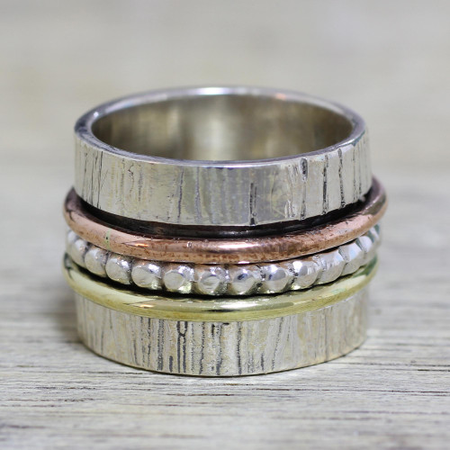 Indian Spinner Ring of Sterling Silver Copper and Brass 'Twirling Beauty'